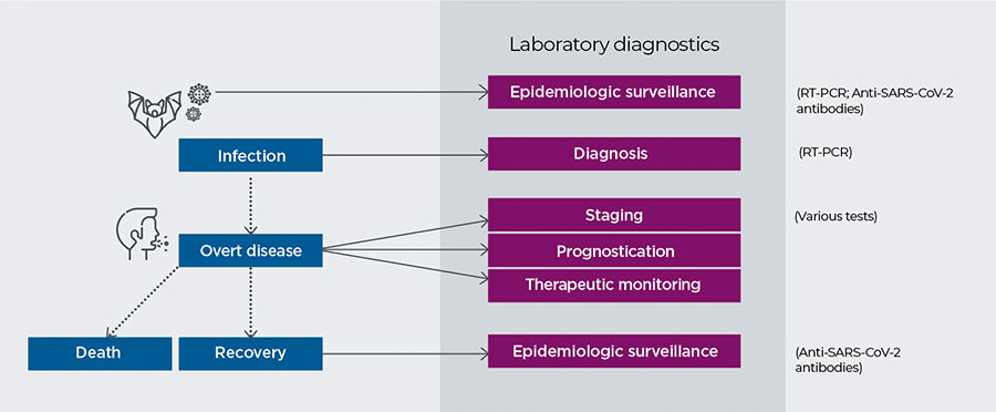 Stages in the COVID-19 care pathway and common IVD tests for each