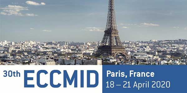 ECCMID 2020 logo. The 30th European Congress of Clinical Microbiology & Infectious Diseases, which will take place in Paris, France, 18 - 21 April 2020