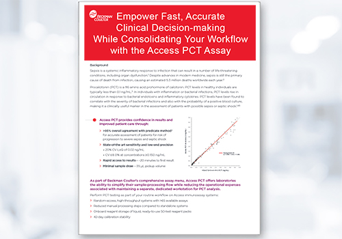 Download this data sheet to learn how to empower fast, accurate clinical decision-making while consolidating your workflow with the Access PCT Assay.