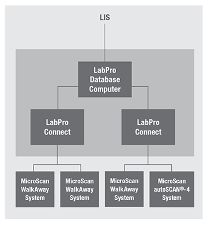 Network diagram showing how LabPro connects to IT systems in open and closed environments.