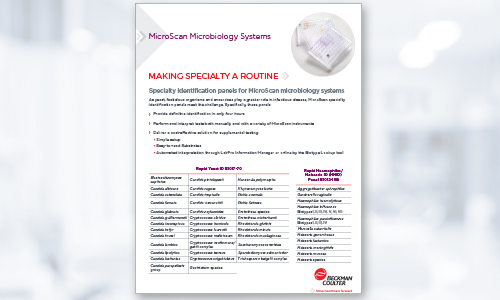 Specialty ID panels for MicroScan microbiology systems
